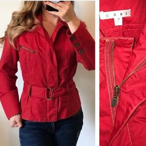 CAbi 401 Red First Mate Belted Jacket Size Medium